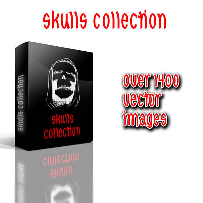 Over 1400 Skulls Vector Clipart Collection for Vinyl Cutters Plotters TShirt