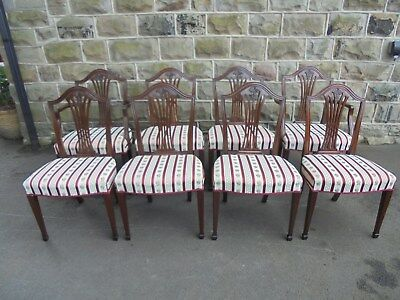 Antique Set 8 Hepplewhite Style Dining Chairs
