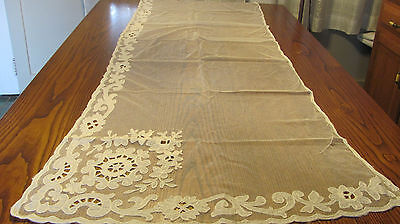 Antique Ivory Swiss Embroidered Applique Tambour Net Chain Lace Curtain 30x80 A2