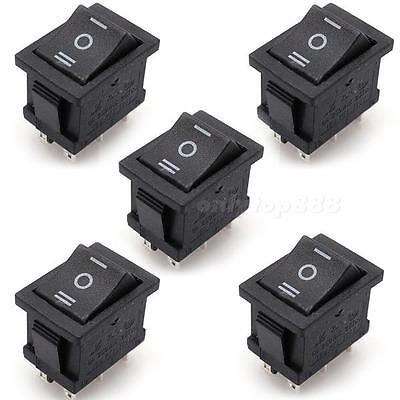 5Pcs 6-Pin DPDT ON-OFF-ON Position Boat Rocker Switch 6A/250V 10A/125V AC MKLG