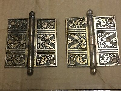 "Pair Antique Vintage 3.5""x3.5"" Eastlake Cast Iron Ball Tip Interior Door Hinges"
