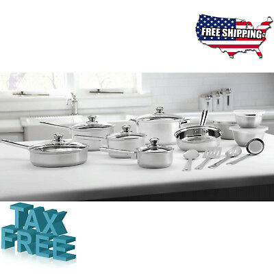 Mainstays Stainless Steel 18-Piece Cookware Set - Pots Pans Skillets and More
