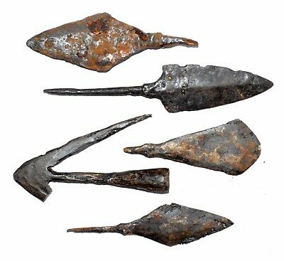 Lot Of 5 Roman Military Iron Arrow Heads -  Rare Ancient Artifact Superb - M959