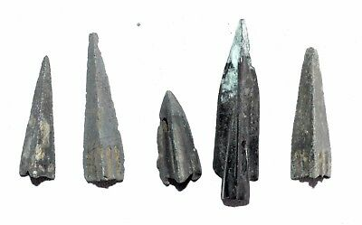 Lot Of 5 Ancient Bronze Arrow Heads - Ancient Historical Artifacts Superb - M962