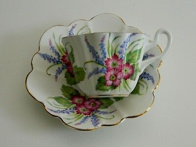 English Alesbury Bone China Fluted Cup & Saucer Set Blue & Pink Cottage Flowers