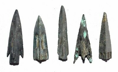 Lot Of 5 Ancient Bronze Arrow Heads - Ancient Historical Artifacts Lovely - M964
