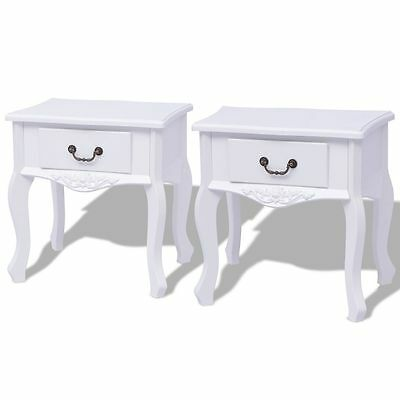 Pair Bedside Tables French Style Nightstand White Cabinet Side Table With Drawer