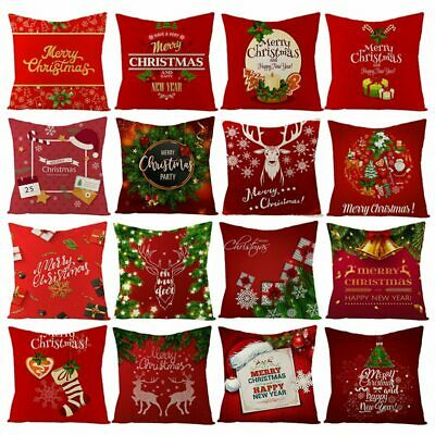 Merry Christmas 2018 Pillow Case Linen Cotton Cushion Cover Home Xmas Decoration