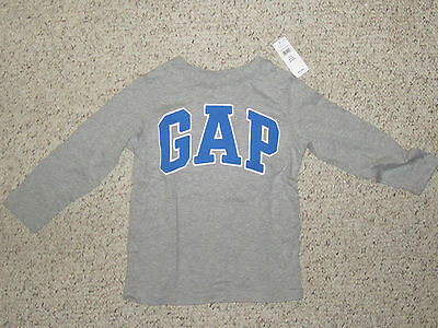 NWT Baby Gap Infant Kids Logo Long Sleeve T Shirt Top 4T Toddler Blue Grey Gray
