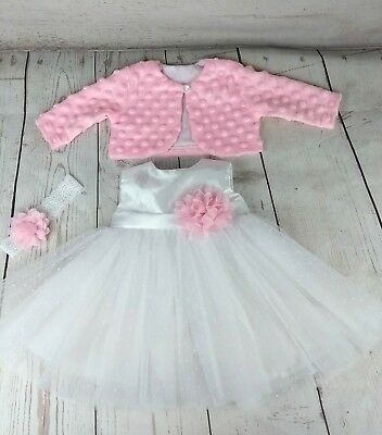 3 6 9 Months 3 piece BABY GIRLS OUTFIT TO BAPTISM  PARTY DRESS CHRISTENING NEW