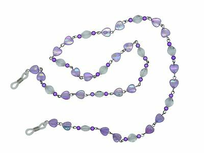 Purple Beaded Heart Womens Glasses Cord Necklace Glasses Cord Spectacle Chain