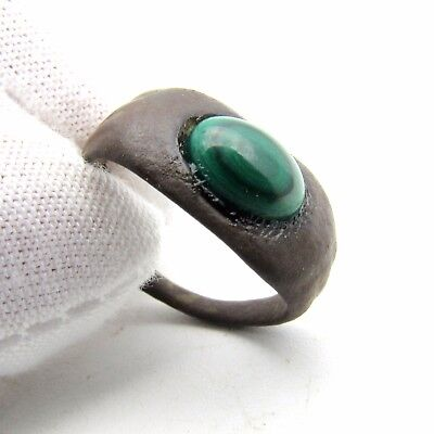 Medieval Bronze Ring W/ Modern Gem/stone In Bezel - Wearable Artifact Rare M840