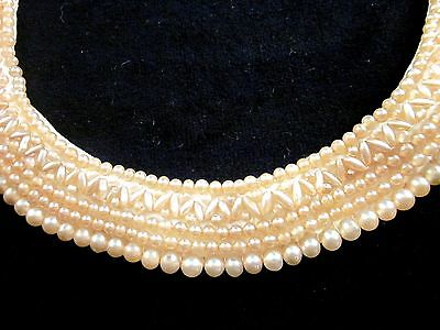 Vintage Glentex Hand-Beaded Faux Pearls on Ivory Satin Collar Made in Japan