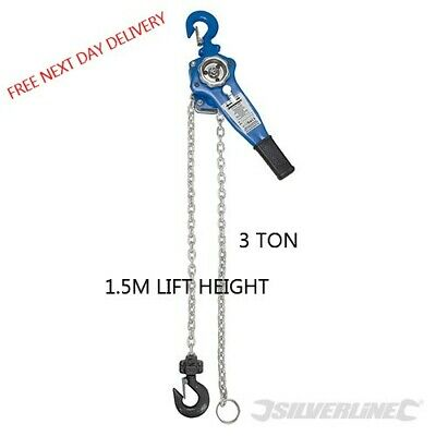 3 Ton Lever Hoist Block Manual Hand Ratchet Winch Pull Lift 1.5M Height 245051