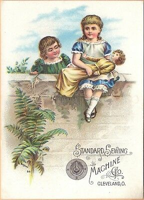 Victorian Trade Card-Standard Sewing Machine Co-Cleveland, OH-Kids w/ Large Doll