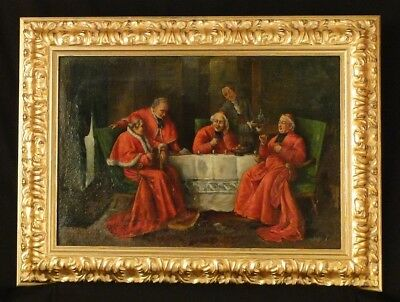 "ANTIQUE ITALIAN OIL PAINTING ""MEETING OF CARDINALS""c.a. 1700"