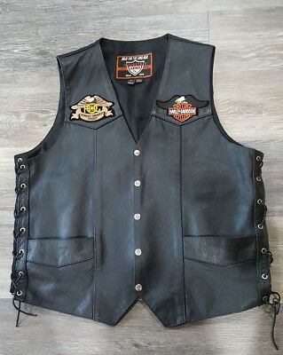 Interstate Leather Harley Davidson Motorcycles Men's LG Tall Leather Vest