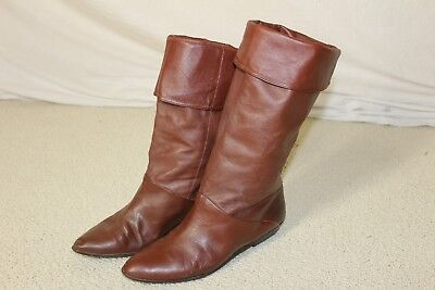 vtg 80s Tall Brown Leather Slouchy Fold-over Pirate flat womens vintage boots 11