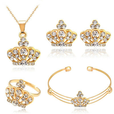 Gold Crystal Rhinestone Necklace Pendant Bracelet Earrings Ring Jewelry Set Gift