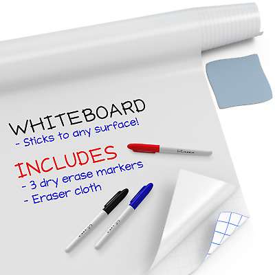 "Large Whiteboard Sticker Roll (6.5ft x 18"") + 3 Markers - White Board Wall Paper"