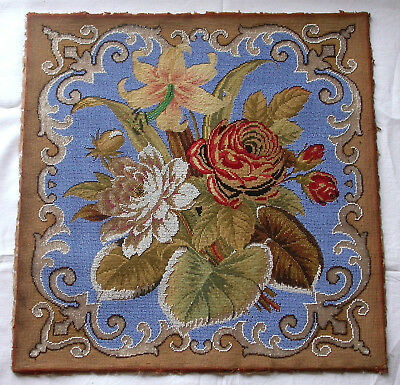 Superb Unusual Large Antique Victorian Tapestry And Beadwork Floral Panel