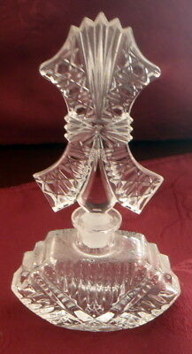 """Vintage Crystal-Clear Glass Perfume Bottle 6""""  Perfume Bottle with Stopper"""
