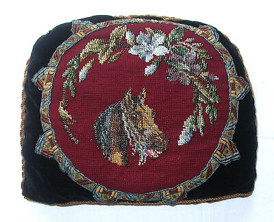 Antique Victorian Tapestry+Beadwork Tea Cosy, Cushion Panel. Horse And Flowers