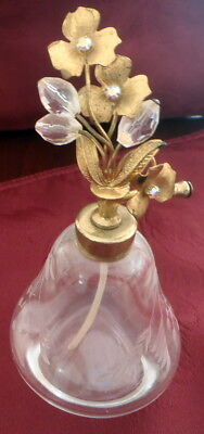 Vintage Clear Etched Glass Perfume Bottle Metal Top with Beads