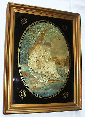 Beautiful Antique Georgian, Regency Framed Silk Embroidered Picture.lady + Dog