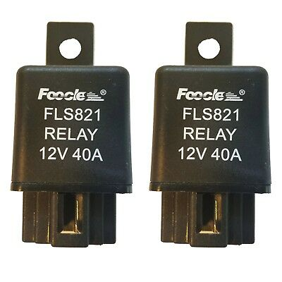 2x DC 12V 40A 40 AMP Car Auto Automotive Van Boat Bike 4 Pins SPST Alarm Relay