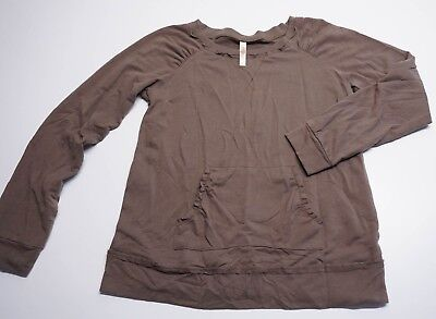 Old Navy Maternity Sweater Sz Medium Brown Raw Hem Pocket Pouch Stretch Pullover