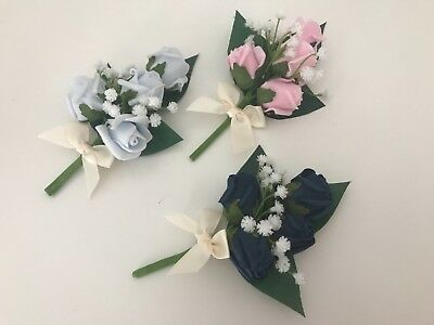 Wedding buttonhole corsage ladies flowers mothers pin on groom bride bouquet