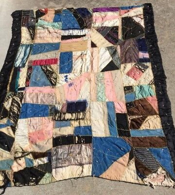 Old Crazy Quilt Hand Stitched