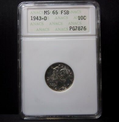 1943-D Mercury Dime ✪ Anacs Ms-65-Fsb ✪ 10C Full Split Bands Fb Silver ◢Trusted◣