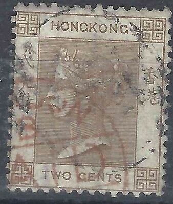 TangStamps: Hong Kong Queen Victoria QV Stamp 2c Used, Nice London Paid Cancel