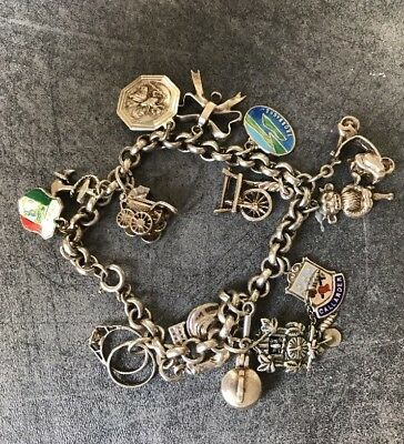 Vintage Charm Bracelet Sterling Silver and .800 Silver 48.9 Grams