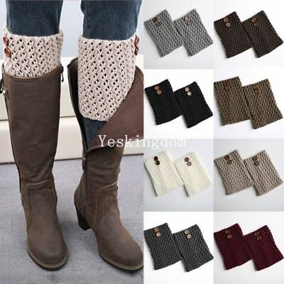 Womens Leg Warmers Boot Toppers Socks Button Knitted Winter Wellies Slouch Cover