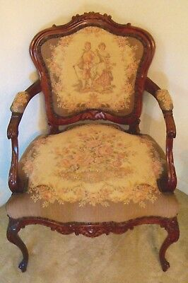 Vintage French Provincial Tapestry Arm Chair Accent Occasional LOCAL PICKUP