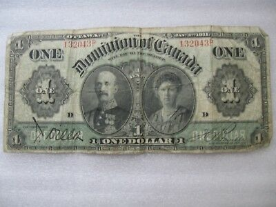 1911 Dominion Of Canada Large One 1 Dollar Canadian Circulated Banknote