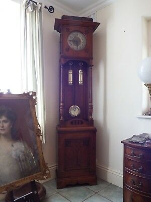 Arts And Crafts Walnut Longcased Grandfather Clock With Cupboard