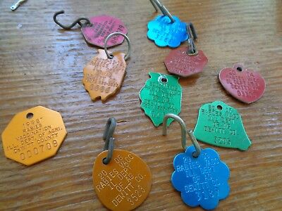 Vintage 1962 Dog Rabies Tag and 2000-2009 Dewitt Co Tags 9 pc