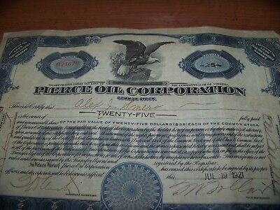 1921 stock certificate pierce oil  corp 25 shares