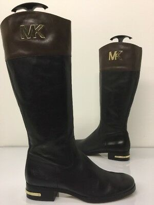 Michael Kors Hayley Riding Boots Black / Brown Leather Women's Size 10