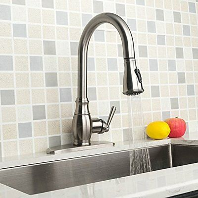 Touch On Kitchen Sink Faucets Antique Brushed Nickel Single Handle Hole Steel