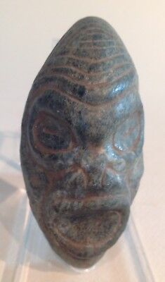 Taino StoneAncestral Head, Frog Man Incised On Base. PreColumbian