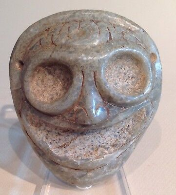 Taino Translucent Marble Mask Or Face Medallion PreColumbian
