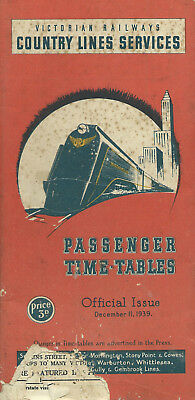 VICTORIAN COUNTRY TIMETABLE Dec 1939