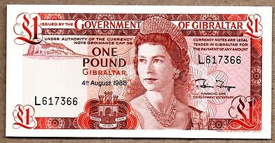 Gibraltar UNC Note 1 Pound August 1988 P-20e