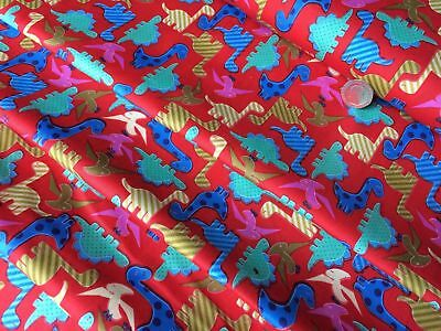 "Dinosaur On Red 100% Cotton Fabric Kids Animals For Craft 56"" Wide *Upto 30% OFF"