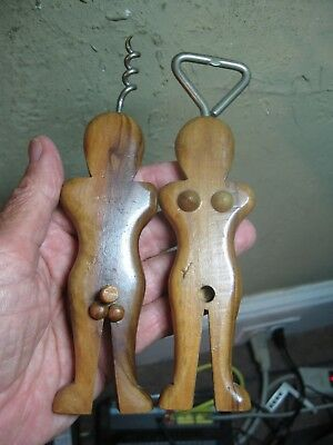 RISQUE Wood Male & Female Figures Corkscrew & Bottle Opener Anatomically Correct